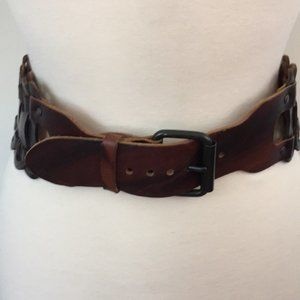 Brown Wide Woven Leather Belt